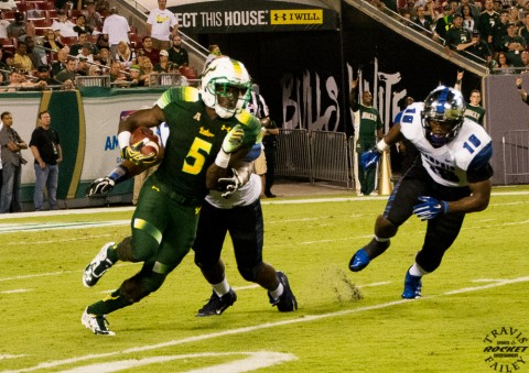 Marlon Mack turns the corner. Mack had 107 yards on 20 carries. Earlier this year here vs.Memphis (Travis Failey / RSEN file photo)