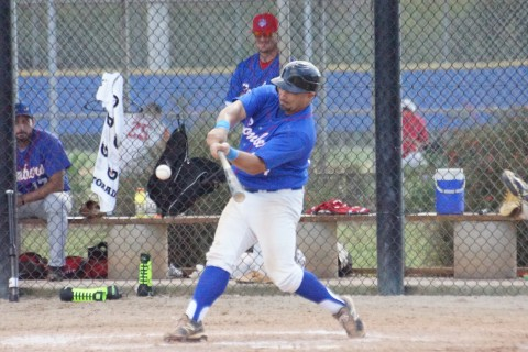 "Billy Colome shown here hitting a sacrifice fly to right in the MSBL Fall Classic at the Mattick Complex is giving back to the game he loves.  Now a coach for the Hillsborough CC Hawks after playing in Independent ball said on Friday, ""I'm giving back to the game that gave me so much."""