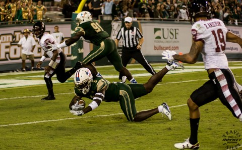 Deatrick Nichols (3) returns the pigskin to the Temple five. This led to a Quinton Flowers TD and the Bulls never looked back (Travis Failey / RSEN)