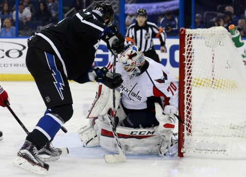 Alex Killorn and the Lightning ran into a hotby, Braden Holtby (photo by Kim Klement-USA TODAY Sports)