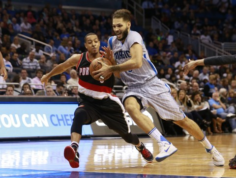 Evan Fournier drives on Portland's  C.J. McCollum in the second half. (photo Kim Klement / USA TODAY Sports)