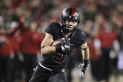 Christian McCaffrey scores a 28 yard reception and touchdown against the Southern California Trojans in the fourth quarter of the Pac-12 Conference football championship game at Levi's Stadium. The Cardinal defeated the Trojans 41-22. (photo Cary Edmondson / USA TODAY Sports)