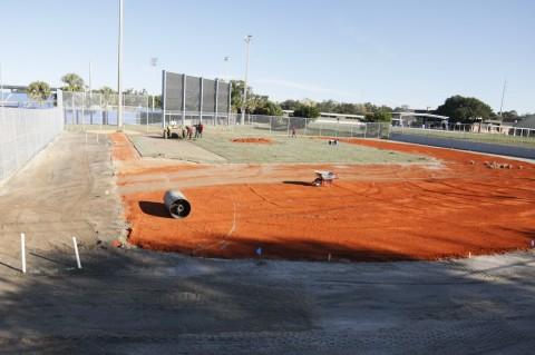 Sod Being Laid on Half Field at Grant Field (EDDIE MICHELS PHOTO)