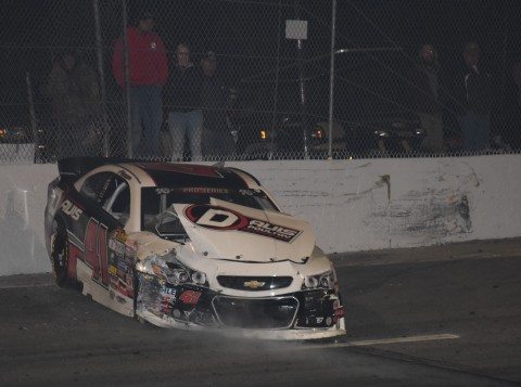Spencer Davis and Todd Gilliland crashed on fake lap number 151. NASCAR had to break out the rulebook and Gilliland was declared the winner. Davis finished 2nd. (photo Rodney Meyering / RSEN)