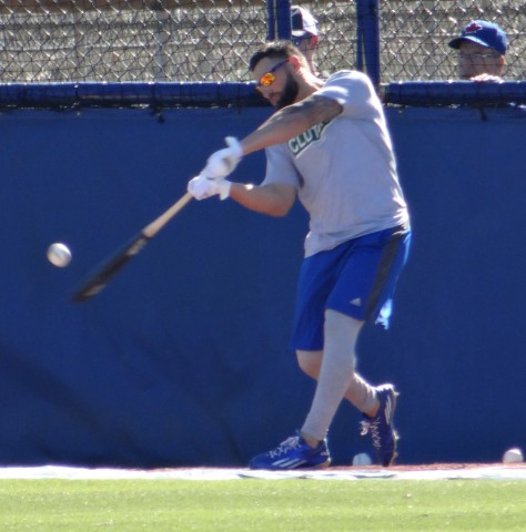 Blue Jays center fielder Kevin Pillar gets some early work in at the team's Mattick Complex in Dunedin.  Pitchers and catchers will open the team's 40th spring training on February 22nd. (EDDIE MICHELS PHOTO)