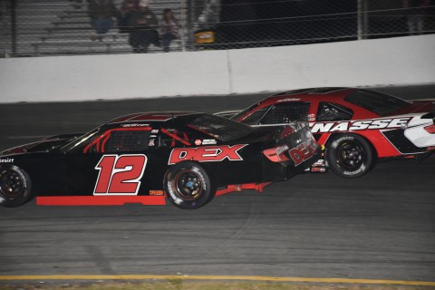 3rd place finisher Harrison Burton (12) just ahead of Stephen Nasse. (photo Rodney Meyering / RSEN)