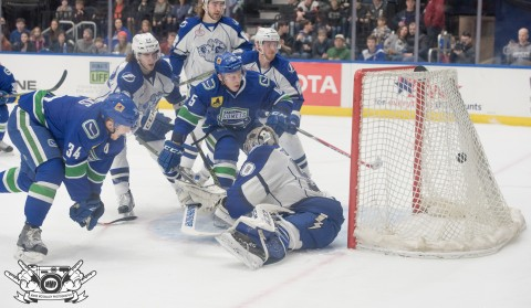 Kristers Gudlevskis can't make the stop as the Utica Comets light the lamp. (Mark McGauley Photography)