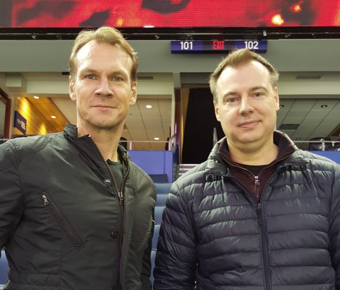 Nicklas Lidstrom (L) Team Advisor Team Sweden and Rikard Gronburg Head Coach Team Sweden scouting NHL Swedish players at Amaile Arena in Tampa (RSEN photo)