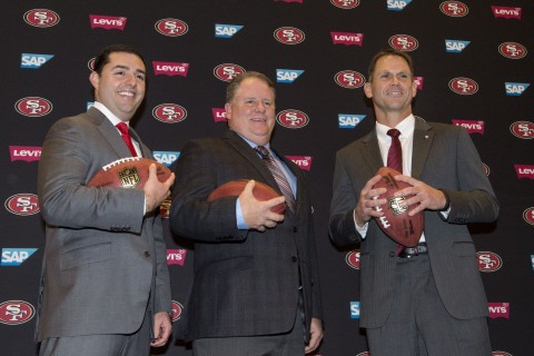 San Francisco 49ers chief executive officer Jed York (left), Chip Kelly (center), and San Francisco 49ers general manager Trent Baalke (right) pose for a photo in a press conference after naming Kelly as the new head coach for the San Francisco 49ers at Levi's Stadium Auditorium. (photo Kyle Terada / USA TODAY Sports)