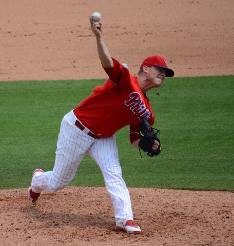 Philadelphia Phillies reliever Andrew Bailey allowed an earned run and two hits against the Detroit Tigers on Saturday. (photo Buck Davidson)