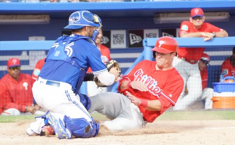 The Phillies Andrew Knapp is out at the plate in the top of the ninth on a throw by Richard Urena to Tony Sanchez. (EDDIE MICHELS PHOTO)