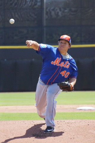 Mets starter Bartolo Colon tossed six shutout innings but was not involved in the decision against the Blue Jays on Wednesday.  Colon allowed three hits and struck out six during his outing. (EDDIE MICHELS PHOTO)