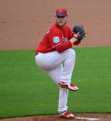 Philadelphia Phillies starting pitcher Brett Oberholtzer endured a rough outing Tuesday against the New York Yankees. (photo Buck Davidson)