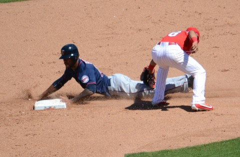 Minnesota Twins outfielder Byron Buxton slides safely intro second base as Philadelphia's Cesar Hernandez applies the tag. (photo Buck Davidson)