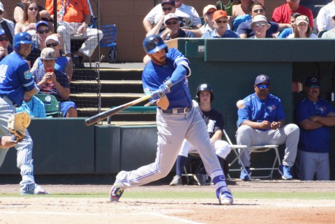 Chris Colabello Triple to Right Center two RBI in 2nd (EDDIE MICHELS PHOTO)