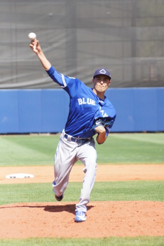 Blue Jays prospect did allow a walk and a hit during his inning on the mound but he bore down to keep a run from scoring. The young man sported a 98 MPH fastball with a 79 MPH change up (EDDIE MICHELS PHOTO)