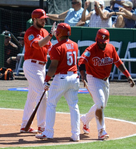 Philadelphia Phillies first baseman Darin Ruf (left) is congratulated by his teammates after his two-run homer in the first inning of Wednesday's game.(photo Buck Davidson)