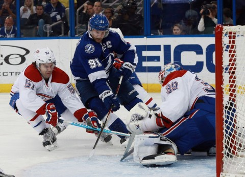 Steven Stamkos (91) and the Lightning were stymied all night David Desharnais (51) and goalie Mike Condon (39).(photo Kim Klement / USA TODAY Sports)