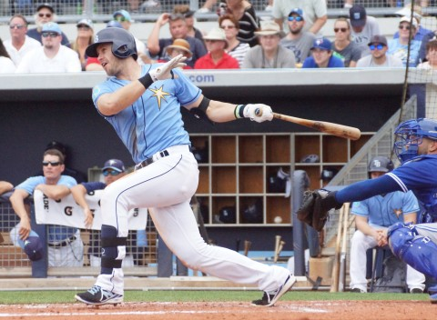 Evan Longoria Single to Left in 4th (EDDIE MICHELS PHOTO)