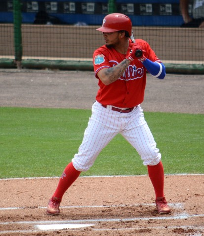 Philadelphia Phillies shortstop Freddy Galvis smacked his first home run of the spring Saturday against Detroit. (photo Buck Davidson)