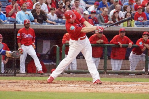 Hellickson at the plate, swing and a miss (EDDIE MICHEL PHOTO)