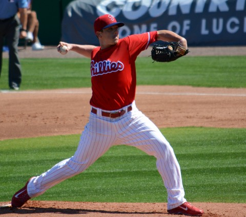 Philadelphia Phillies starting pitcher Jeremy Hellickson pitched two innings against Atlanta on Friday. (photo Buck Davidson)