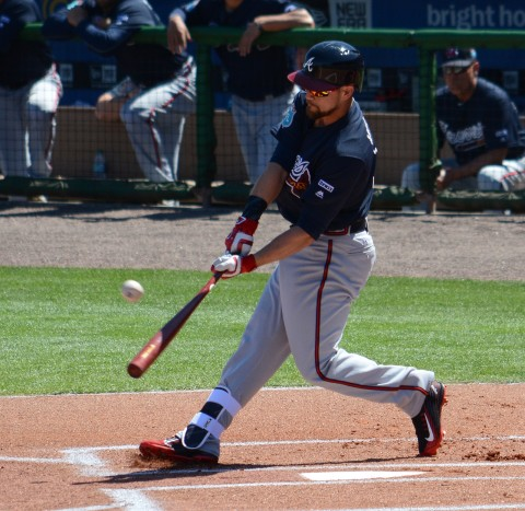 Atlanta Braves outfielder Ender Inciarte lashes a double in the top of the first inning Friday. (photo Buck Davidson)