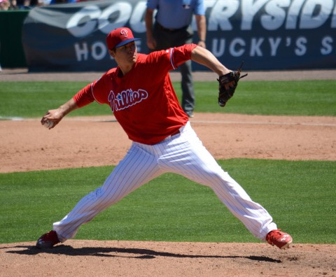 Philadelphia Phillies starting pitcher Jerad Eickhoff allowed three earned runs and struck out seven batters in four innings against the Minnesota Twins on Tuesday. (photo Buck Davidson)