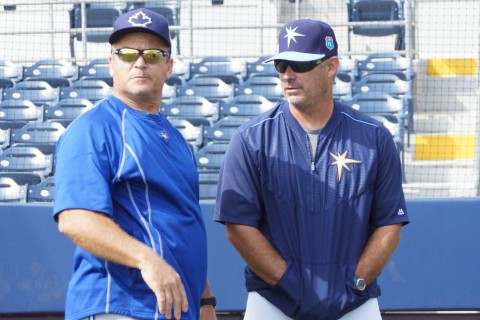 John Gibbons, Toronto manager (left) and Derek Shelton Rays Hitting Coach (EDDIE MICHELS PHOTO)