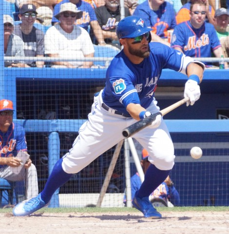 Kevin Pillar Drops Down Sac Bunt in 6th. (EDDIE MICHELS PHOTO)