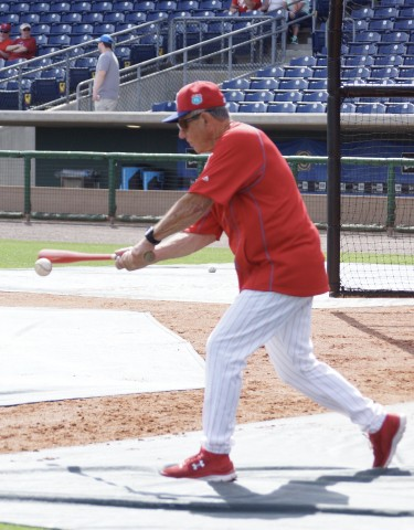 Phillies Coach Larry Bowa Hits Grounders Prior to Game With Jays. (EDDIE MICHELS PHOTO)