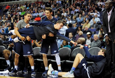 Monmouth Hawks bench players celebrate after a three pointer in the first half against the Georgetown Hoyas at Verizon Center. (photo Evan Habeeb / USA TODAY Sports)
