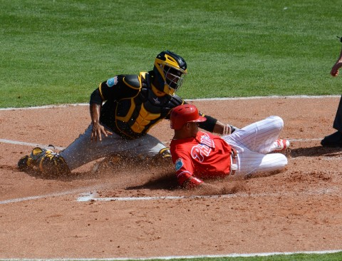 Philadelphia Phillies runner Cesar Hernandez is tagged out at the plate by Pittsburgh Pirates catcher Elias Diaz. (photo Buck Davidson)