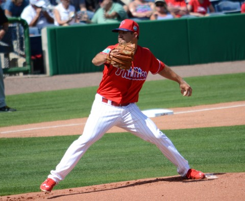 Philadelphia Phillies pitcher Adam Morgan delivered a strong performance in picking up his first win of the spring Tuesday against Pittsburgh. (photo Buck Davidson)