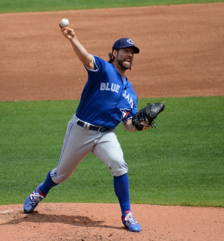 Toronto Blue Jays starting pitcher R.A. Dickey delivers during Saturday's game against the Philadelphia Phillies. (photo Buck Davidson)