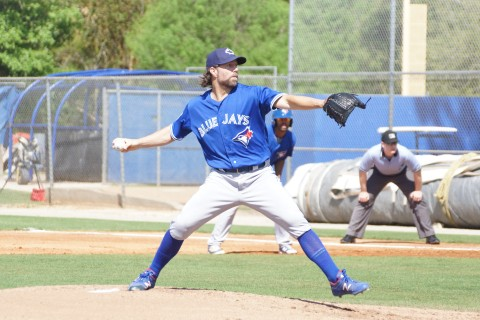According to Blue Jays PR Dickey recorded nine outs allowed one hit, hit a batter and struck out four. (EDDIE MICHELS PHOTO)