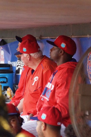 Ryan Howard (right) just doing what he does best, just hanging out with Charlie Emanuel (EDDIE MICHELS PHOTO)