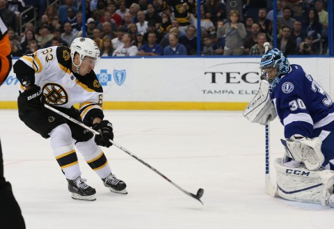 Two of the three stars tonight Brad Marchand (63) and Ben Bishop (30) (photo Kim Klement / USA TODAY Sports)