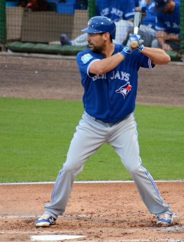 Toronto Blue Jays first baseman (and Seminole High School alumnus) Casey Kotchman collected his first home run of the spring in Friday night's game. (photo Buck Davidson)