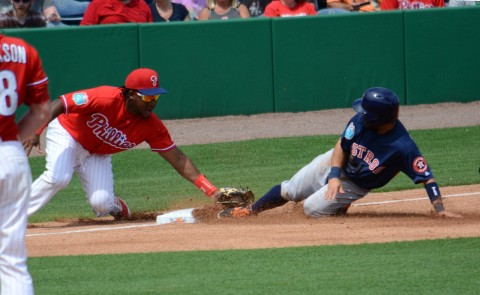 Philadelphia Phillies third baseman Maikel Franco tags out Houston's Jose Altuve on an attempted steal of third. (Buck Davidson Photo)