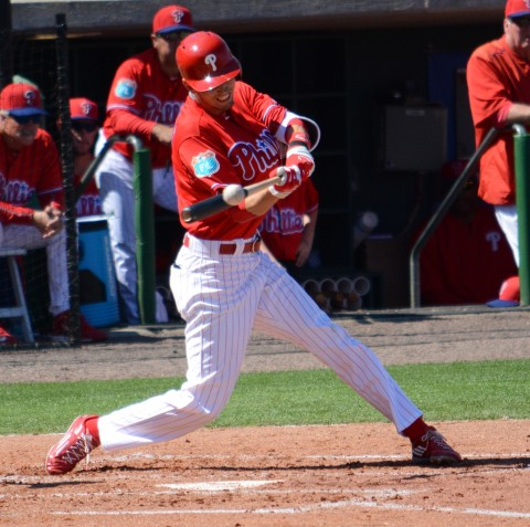 Philadelphia Phillies outfielder Tyler Goeddel had two RBIs against Atlanta on Friday. (photo Buck Davidson)