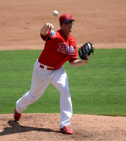 Philadelphia Phillies starting pitcher Jeremy Hellickson twirled five no-hit innings against the Houston Astros on Sunday. (Buck Davidson Photo)