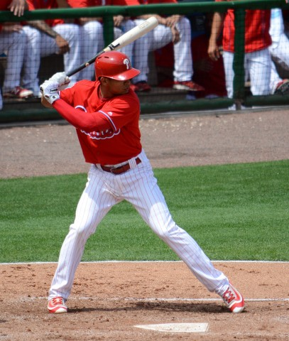 Philadelphia Phillies second baseman Cesar Hernandez led off the bottom of the first inning with his first home run of the spring. (Buck Davidson Photo)