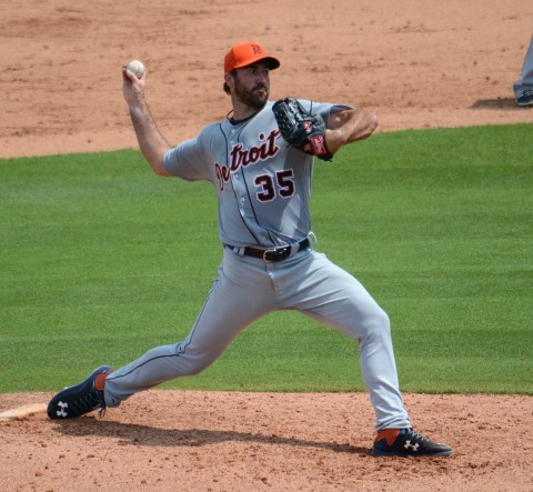 Detroit Tigers starting pitcher Justin Verlander was charged with three earned runs and he allowed seven hits in his 86-pitch outing against Philadelphia on Saturday. (photo Buck Davidson)
