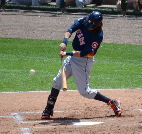 Houston Astros outfielder Colby Rasmus smacked a three-run homer in Sunday's game against the Philadelphia Phillies. (Buck Davidson Photo)