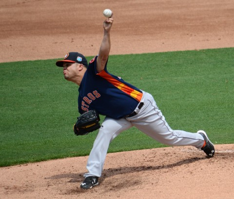 Houston Astros starting pitcher Wandy Rodriguez logged a fine four innings of work against the Philadelphia Phillies on Sunday. (Buck Davidson Photo)