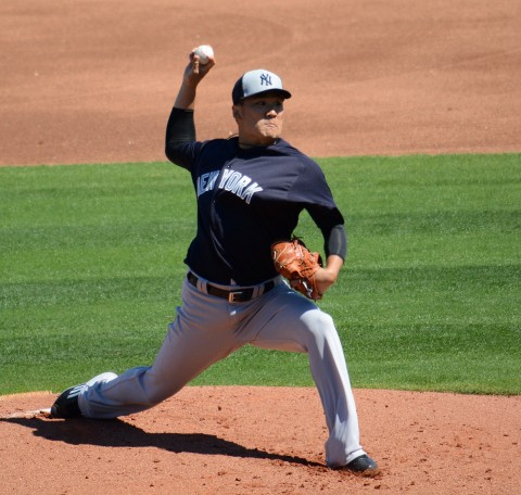 New York Yankees starting pitcher Masahiro Tanaka had a successful outing in his first 2016 spring appearance. (photo Buck Davidson)