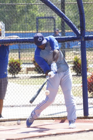 The Blue Jays number two prospect Anthony Alford takes BP for the first time on Monday. He injuring his right knee sliding into home on April 7th playing for Class-A Dunedin. (EDDIE MICHELS PHOTO)