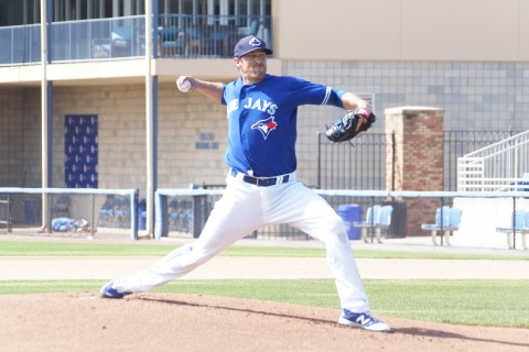 "Blue Jays reliever Bo Shultz faces live hitters for the first time on Friday since surgery on his left hip during the off season. ""It wasn't comfortable,"" said Schultz of his hip last season, ""It was a labral tear."" Schultz threw 25 pitches and afterwards reported no problems. (EDDIE MICHELS PHOTO)"