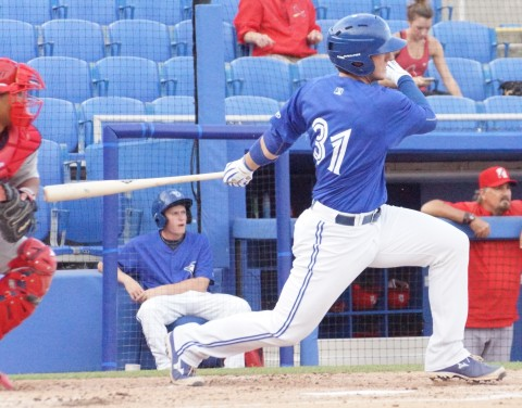 Prospect Catcher Dan Jansen Single to Left RBI (EDDIE MICHELS PHOTO)